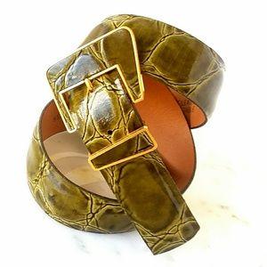 Emmanuel Vintage Croco  Patent Leather Belt